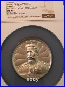 1968 Japan 87.5g Silver Medal Meiji Emperor 100th Anniversary Ngc Ms 69 Pop 1