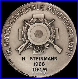 1968 Switzerland Glarus Swiss Shooting 50mm Silver Medal R-827a NGC MS 65