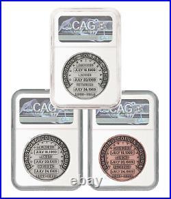 1969-2019 Apollo 11 50th Anniv Robbins Medal 3-Coin Set NGC GEM Unc SKU55585