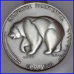 1969 U. S. California Bicentennial 63mm Silver Medal by MACO NGC MS 67