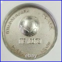1970 MEXICO SILVER GROVE 1078a WORLD SOCCER CHAMPIONSHIP NGC MS 65 SCARCE MEDAL