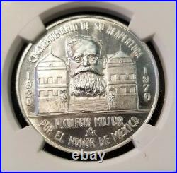 1970 MEXICO SILVER GROVE 1092a MILITARY COLLEGE RE OPENING NGC MS 63 VERY RARE