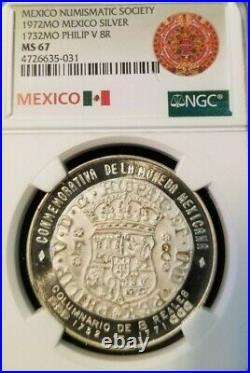 1972 Mexico Silver Medal 1732 Philip V 8 Reales Pillar Dollar Ngc Ms 67 Top Pop