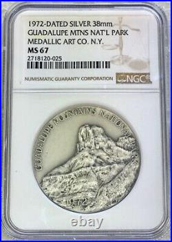 1972 Silver Guadalupe Mtns. National Park Medallic Arts Medal Ngc Mint State 67