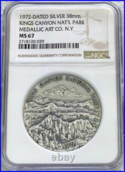 1972 Silver Kings Canyon National Park Medallic Arts Co. Medal Ngc Mint State 67