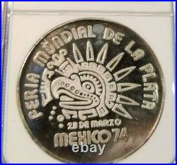 1974 Mexico Silver 40g Medal Worlds Fair Of Silver Ngc Pf 65 Ultra Cameo Top Pop