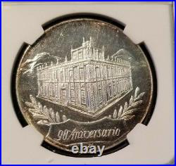 1974 Mexico Silver Medal National Bank Of Mexico 90th Anniversary Ngc Ms 63