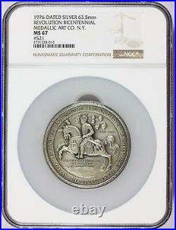 1976 American Revolution Bicentennial Baltimore Maryland Silver Medal NGC MS 67