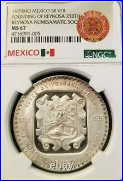 1979 Mexico Silver Medal 230th Anniversary Founding Of Reynosa Ngc Ms 67 Top Pop