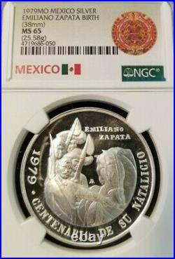 1979 Mexico Silver Medal Emiliano Zapata Birth Anniversary Ngc Ms 65 Scarce