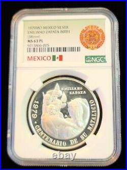1979 Mexico Silver Medal Emiliano Zapata Birth Centenary Ngc Ms 63 Pl Proof Like