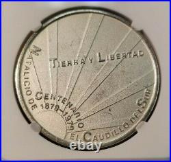 1979 Mexico Silver Medal Zapata Birth Centennial Ngc Ms 65 Scarce High Grade
