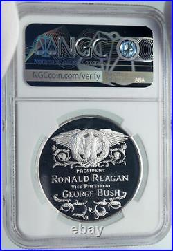 1985 USA American President RONALD REAGAN & BUSH Proof Silver Medal NGC i86028
