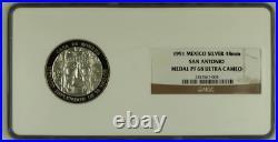 1991 Mexico Silver 2oz San Antonio 48mm Medal NGC PF68UC