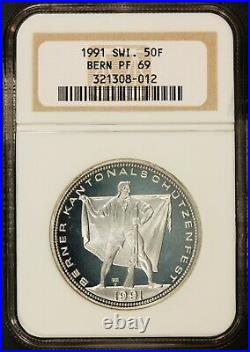 1991 Switzerland Bern 50 Francs Shooting Medal Silver Coin Hab-41a NGC PF 69