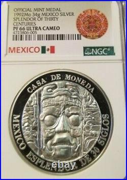 1992 Mexico 34g Silver Medal Splendor Of Thirty Centuries Ngc Pf 66 Ultra Cameo
