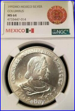1992 Mexico Silver Christopher Columbus Anniversary Ngc Ms 64 Very Scarce Medal