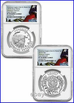 2 PC 2019P American Legion Silver Dollar &Medal NGC PF70 UC ER SKU58171