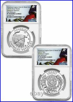 2 PC 2019P American Legion Silver Dollar &Medal NGC PF70 UC FR SKU58170