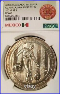 2006 Mexico Silver Guadalajara Sport Club Centennial Ngc Ms 65 Scarce Medal