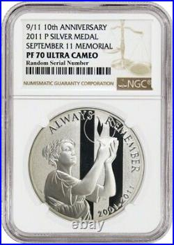2011 P 9/11 10th Anniversary Commemorative National Silver Medal NGC PF70 UC