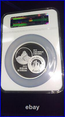2013 CHINA MEDAL 5 oz. 999 SILVER PANDA NGC PF 70 UC LONG BEACH COIN EXPO