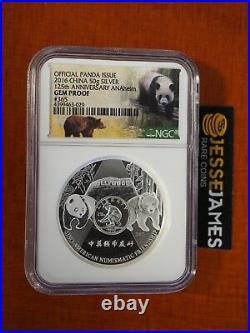 2016 50g China Silver Panda Ngc Gem Proof 125th Anniversary Ana Anaheim