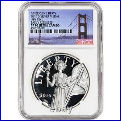 2016-S US American Liberty Silver Medal NGC PF70 UCAM Early Releases Golden Gate