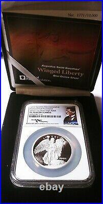 2016 Saint-Gaudens Winged Liberty 1 oz Silver Medal NGC PF70 UC, Mercanti Signed