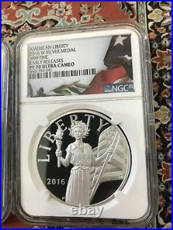 2016 W & S Silver American Liberty Medal Set NGC PF70 Early Releases