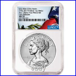 2017-D UNC 225th Ann. American Liberty Silver Medal 1oz NGC MS70 Flag ER Label