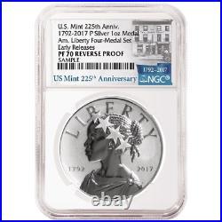 2017-P Reverse Proof 225th Ann. American Liberty Silver Medal 1oz NGC PF70 225th