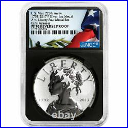 2017-P Reverse Proof 225th Ann. American Liberty Silver Medal 1oz NGC PF70 Flag