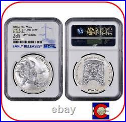 2017 South Korea ZISIN Gallus 1 oz Silver Medal/Coin NGC MS70 ER