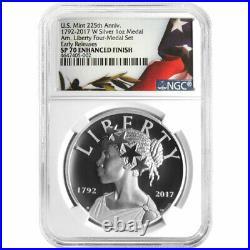 2017-W Enhanced 225th Ann. American Liberty Silver Medal 1oz NGC SP70 Flag ER La