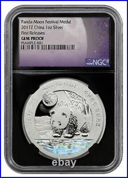 2017 Z Moon Festival Silver Panda 1 oz Hologram Medal NGC GEM PF FR Black Core