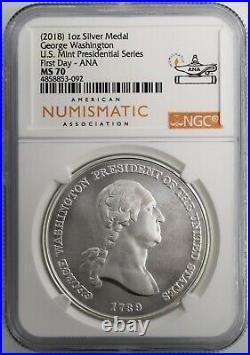 (2018) 1oz Silver Medal George Washington U. S. Mint Presidential Series NGC MS70