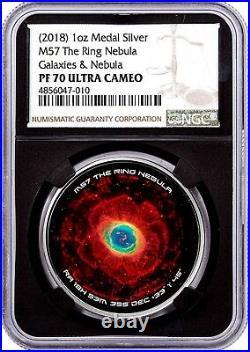2018 Galaxies & Nebula Series M57 The Ring Nebula 1 Oz Silver Medal NGC PF70 UC