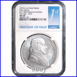 2018 John Adams Silver Presidential Medal 1oz. NGC MS70 First Day ANA First Labe