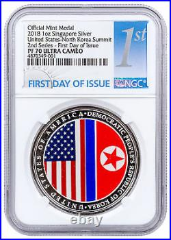 2018 Singapore US Korea Summit HR 1 oz Silver Medal NGC PF70 UC FDI SKU55951