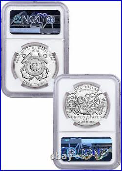 2018 WWI Centennial Silver Dollar W Coast Guard Medal NGC PF70 Bressett SKU58154