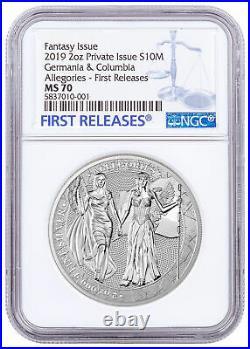 2019 Allegories Germania & Columbia 2 oz Silver Medal NGC MS70 FR SKU60482