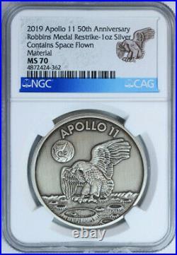 2019 Apollo 11 50th Anniversary 1oz Pure Silver Medal Robbins Restrike NGC MS70