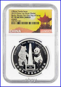 2019 China Berlin Money Fair Panda 1 oz Silver Medal NGC PF70 UC FDI SKU56850