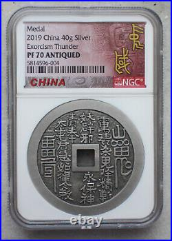 2019 NGC PF70 Antiqued China 40g Silver Medal Exorcism Thunder