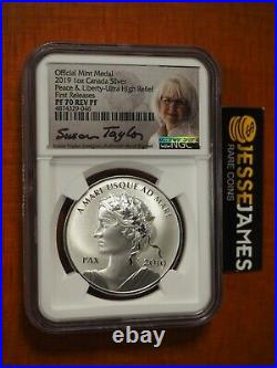 2019 Peace & Liberty Uhr Reverse Proof Silver Medal Ngc Pf70 Mercanti Taylor Fr