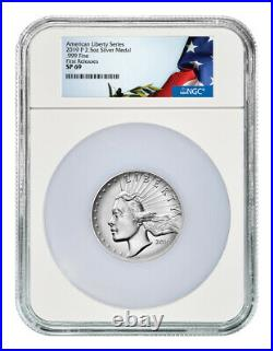 2019P American Liberty High Relief 2.50oz Silver Medal NGC SP69 FR Flag