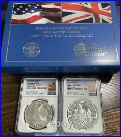 2020 400th Anniversary Mayflower Voyage Proof Coin & Medal Set. Both NGC PF70UC