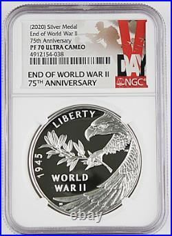 2020 75th Anniversary End of WWll Silver Medal NGC PF 70 Ultra Cameo WithOPG & COA