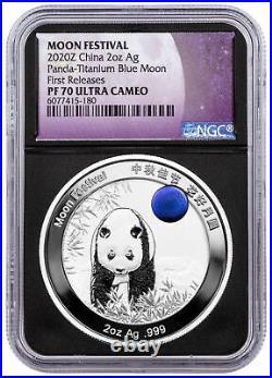 2020 China Moon Panda w Blue Titanium Inset 2 oz Silver Medal NGC PF70 UC FR
